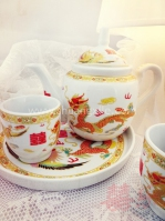 Teaset - Gold Dragon Phoenix