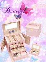 Sweet Pearly Pink Leatherette Jewellery Box