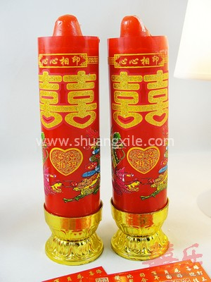 Double Happiness Dragon Phoenix Candle