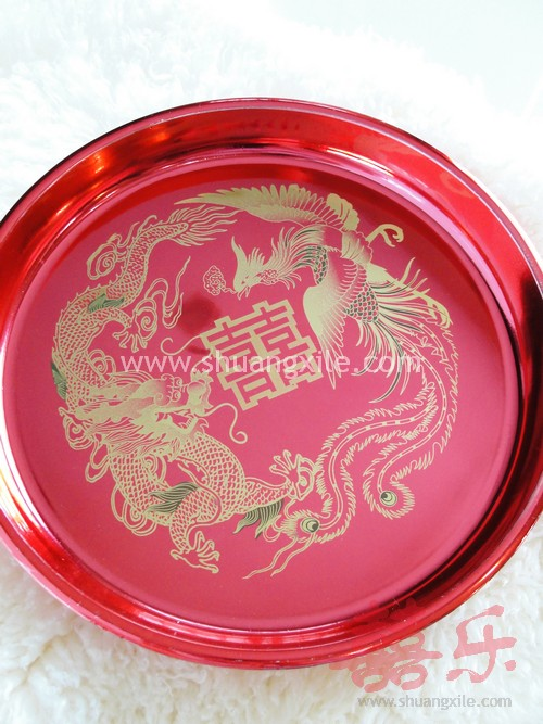 Exquisite Dragon Phoenix Wedding Tray New Bed Setting Chinese