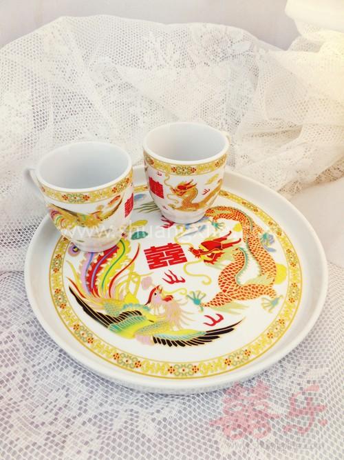 Gold Dragon Phoenix Teapot Set