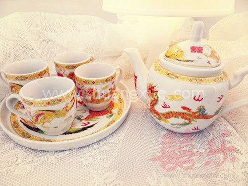 Gold Dragon Phoenix Wedding Teapot Set