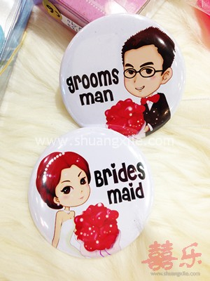 Handsome Grooms Man and Pretty Bridesmaid Badge