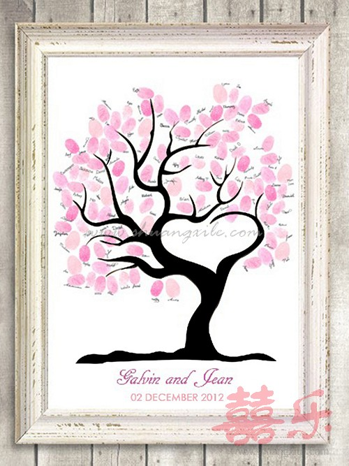 my heart wedding tree thumbprint guestbook
