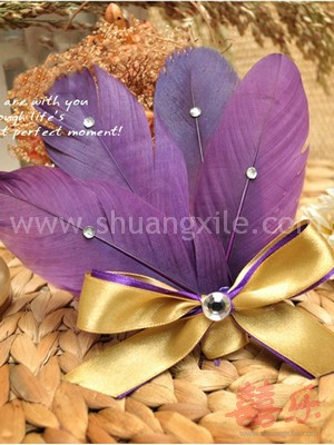 Purple Feather Corsages