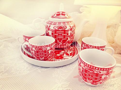 paper cut wedding teapot set