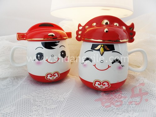 Smiling couple mug set