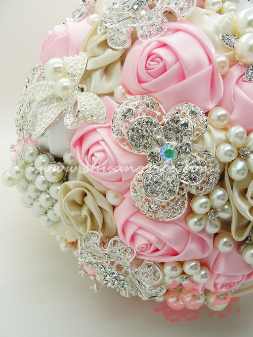 Vintage Jewellery Wedding Bouquets : Blush pink ivory vintage jewellery bouquet bridal