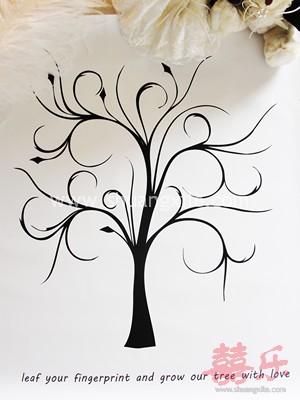 Fingerprint tree guest book canvas