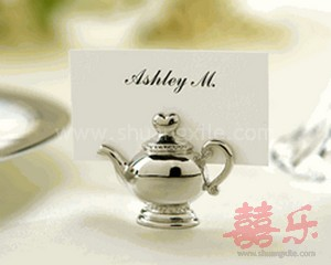 Silver Plated Teapot Place Card Holder