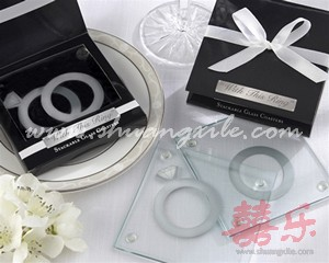 With This Ring Glass Coaster Set (2pcs)
